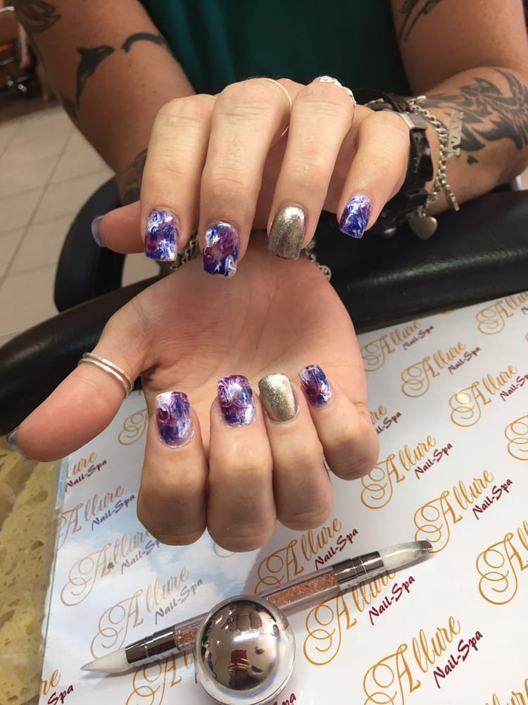 SNS nails with marble gel color and mirror chrome by Tiffany . - Yelp