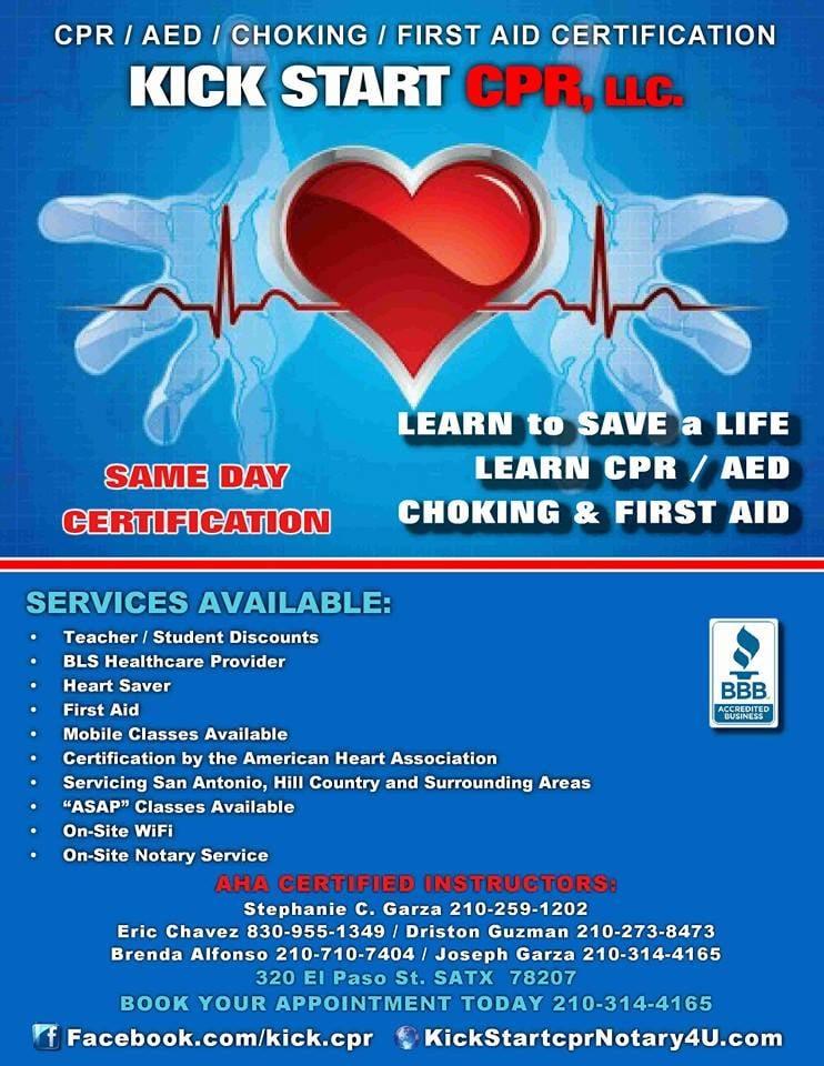 Kick Start Cpr Closed First Aid Classes 320 El Paso St San