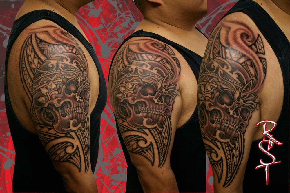 Skull Polynesian 1 2 Sleeve Clients first tattoo done in 1