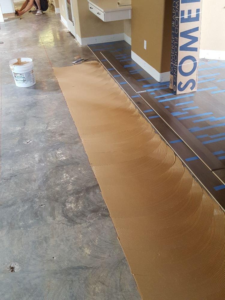 Gluing Floor To Concrete Subfloor Moisture Barrier P104 Danville