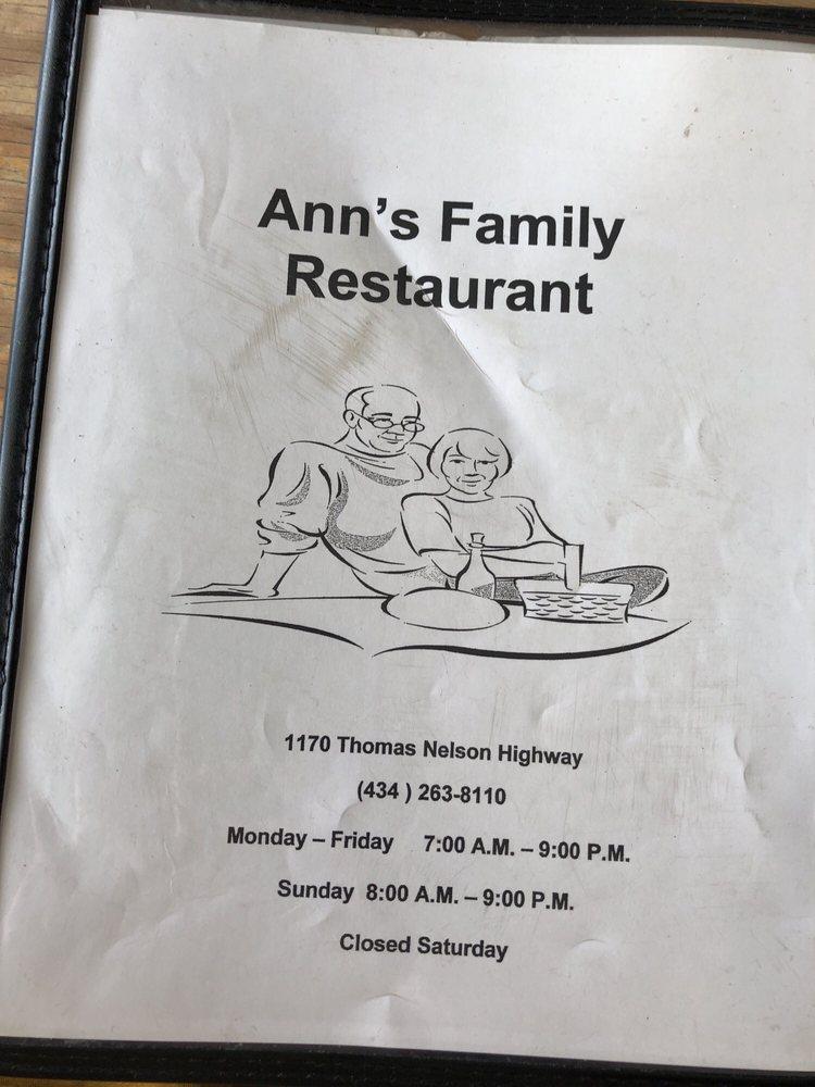 Ann's Family Restaurant: 1170 Thomas Nelson Hwy, Arrington, VA
