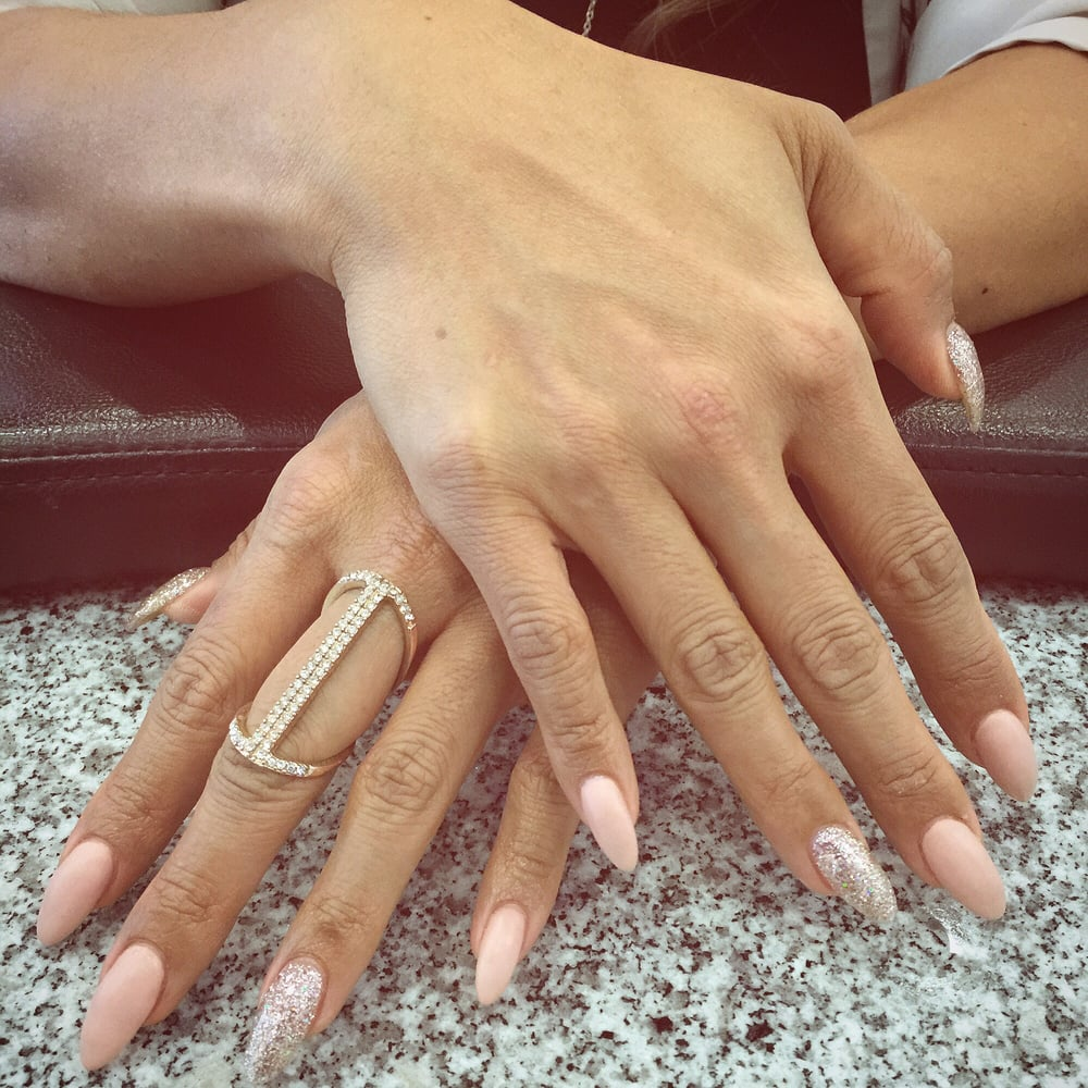 Neutral matte with glam accents by Dani :) gel polish over almond ...