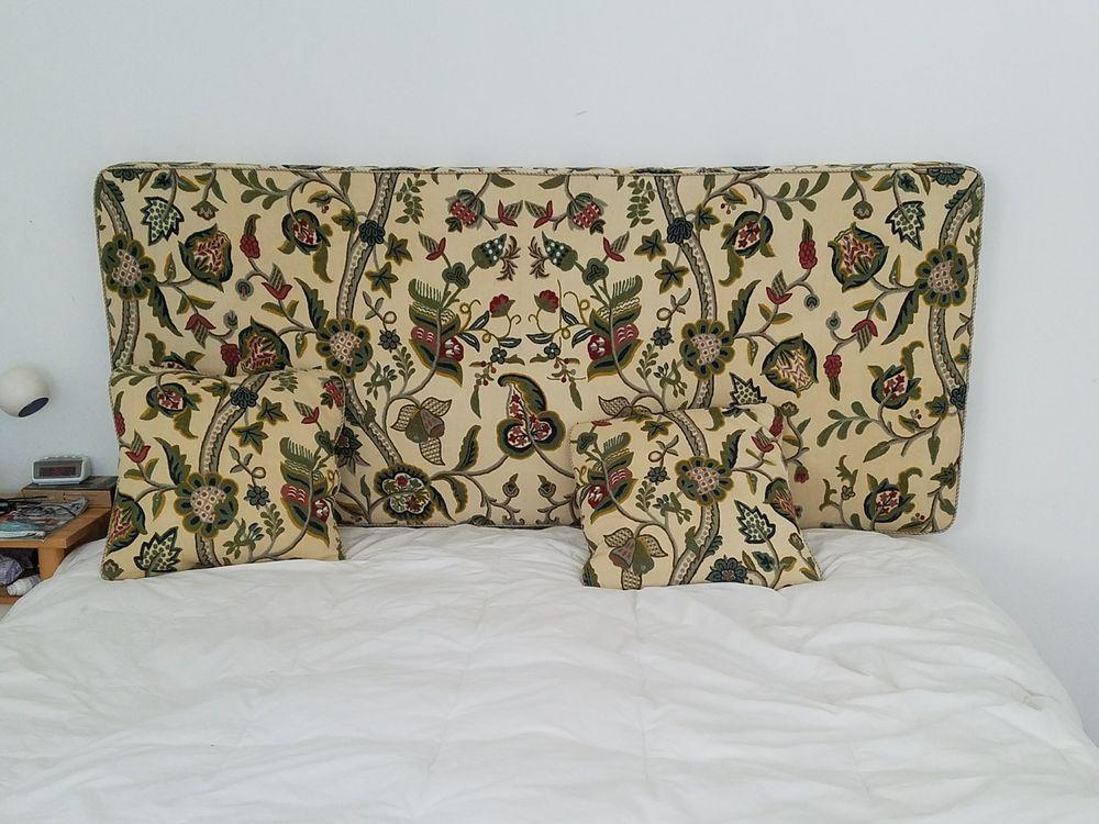 Custom built headboard pillows from antique fabric quilt for Headboard made pillows