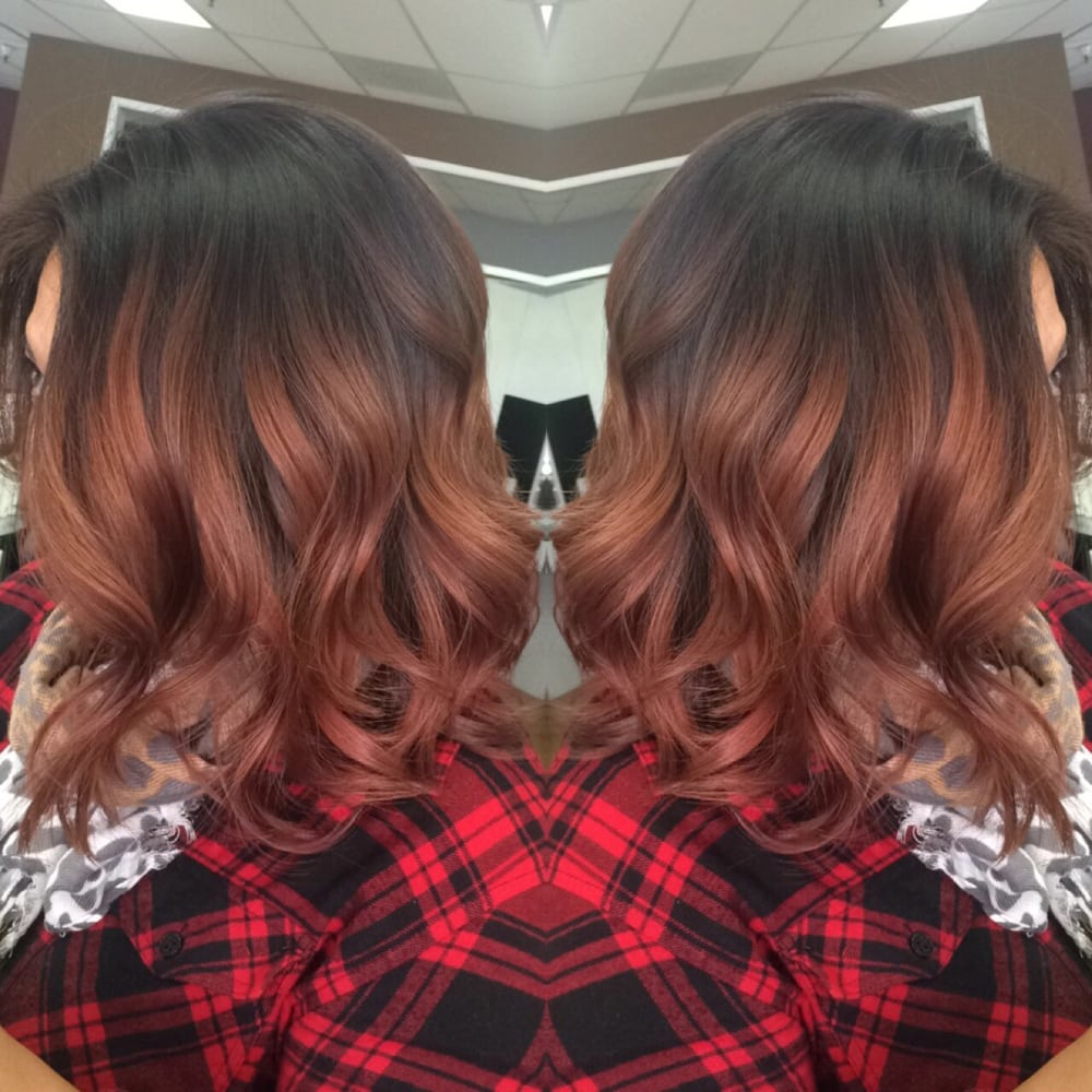Rose Gold Balayage And Haircut Done By Hairstylist Ana To