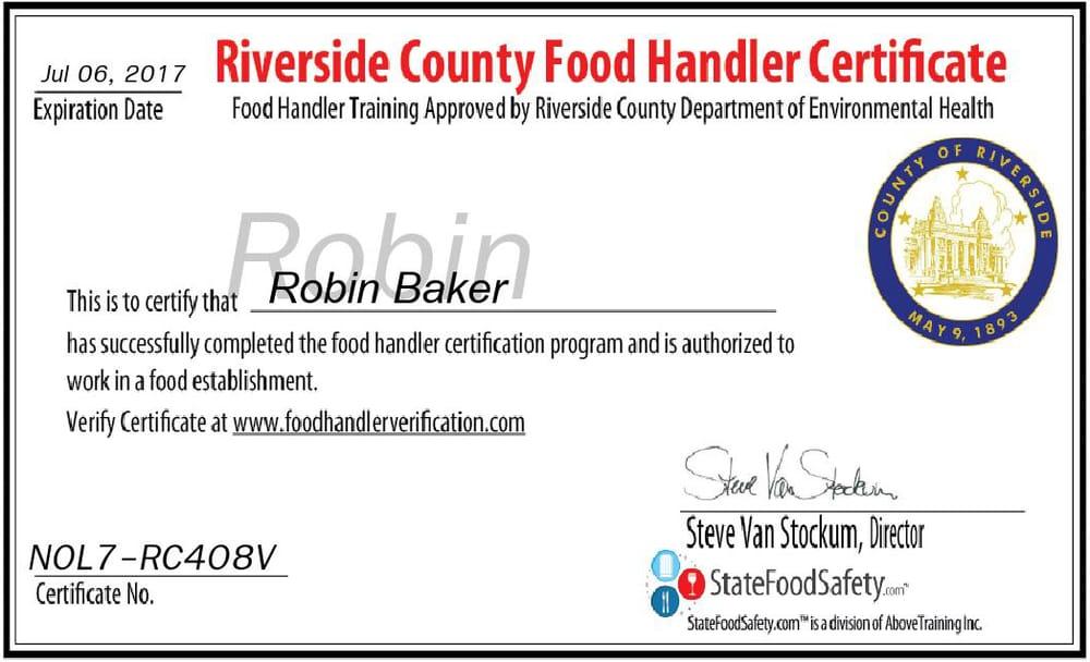 Food Handler S Certificate Fl
