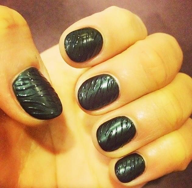 Matte black gel manicure with zebra prints - Yelp