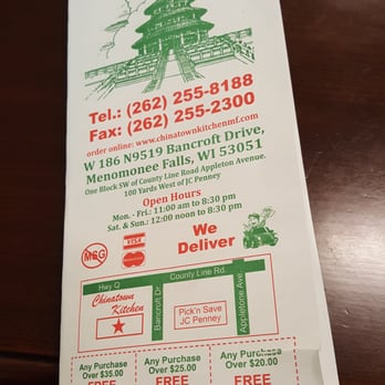 Chinese Food Delivery Menomonee Falls
