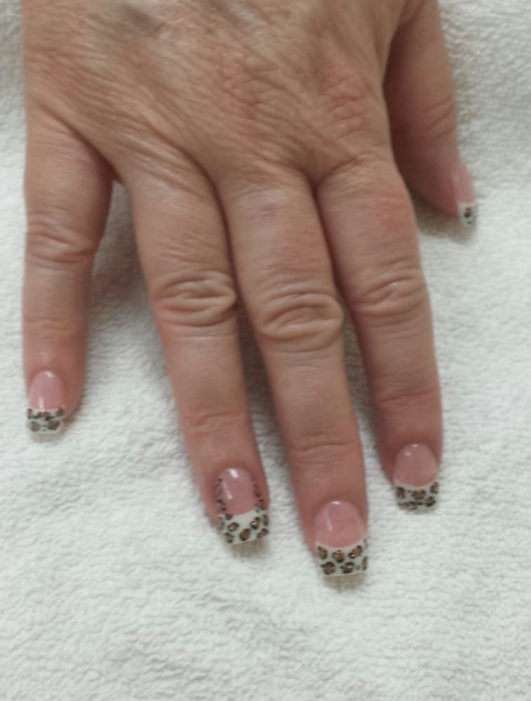 White glitters acrylic on tips, light pink acrylic powder on nail ...