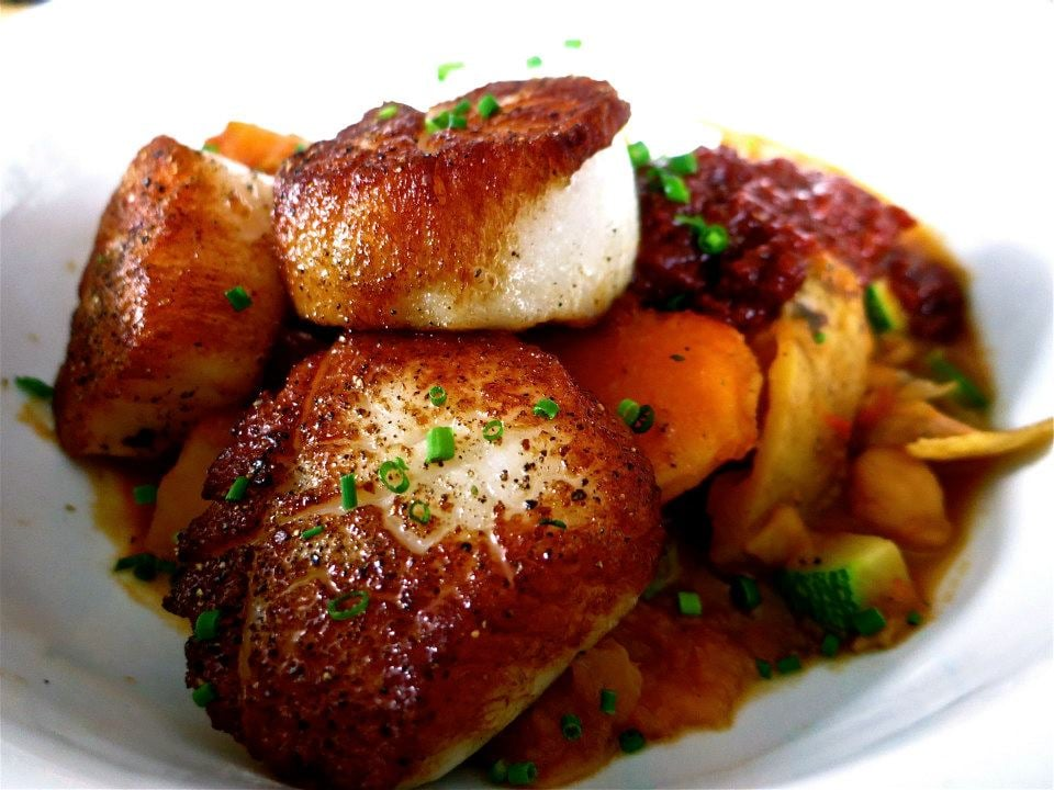 Scallops with chickpea and harissa yelp for Marys fish camp fl
