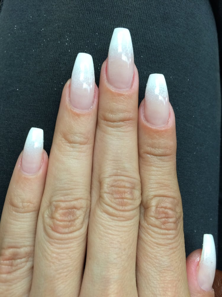 Coffin shape french tip ombré by Jody. She never disappoints!! - Yelp