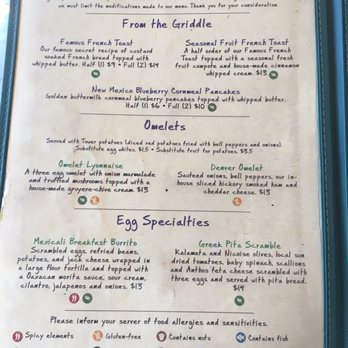 Sacramento Tower Cafe Menu