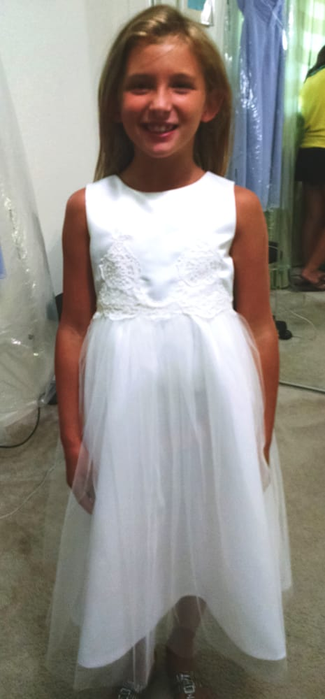 Custom flower girl dress using matching lace from the for Wedding dress cleaning austin