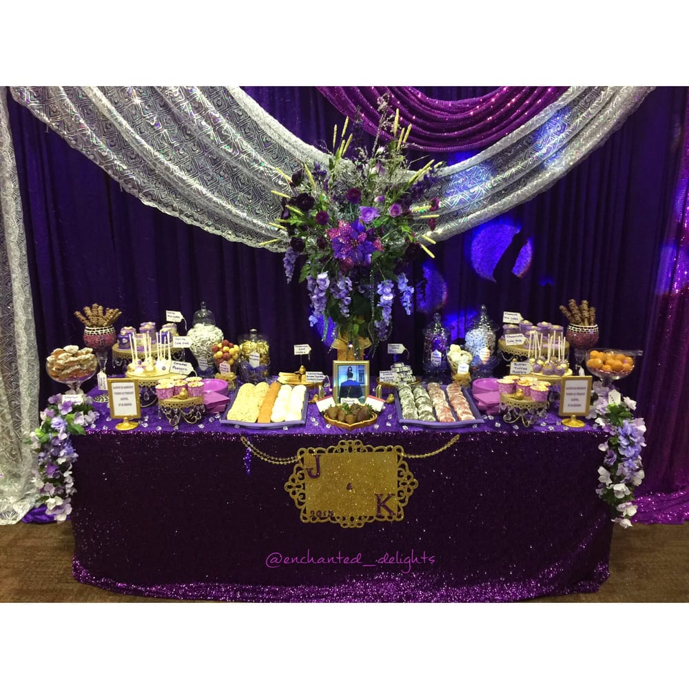 Purple Wedding Dessert Table: Royal Purple And Gold Dessert Table For A Wedding