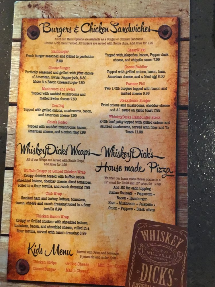 Whiskey Dick's Eatery and Saloon: 411 Division St, Millville, MN
