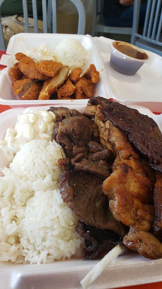 Food from L & L Hawaiian Grill