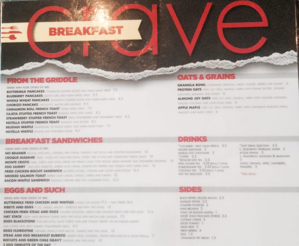 The menu. - Yelp