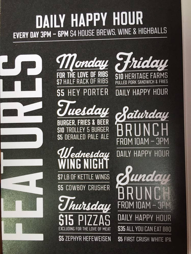 Drink menu - daily specials - Yelp