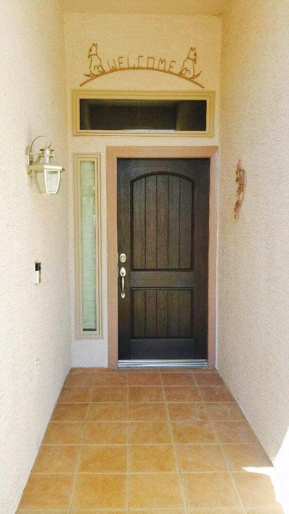 Plastpro Dra2a Two Panel Plank Rustic Fiberglass Entry Door Stained