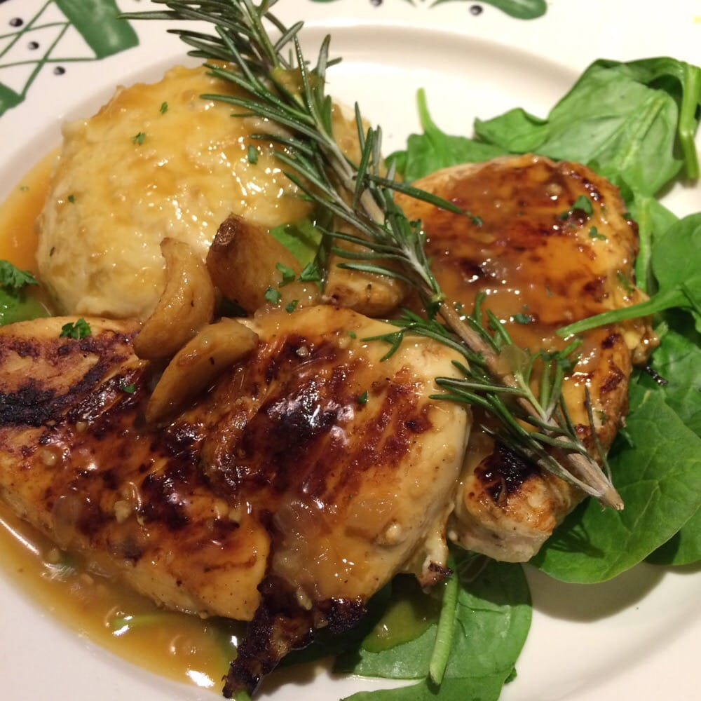 Rosemary Garlic Chicken on their Lighter Fare menu. 550 calories - Yelp