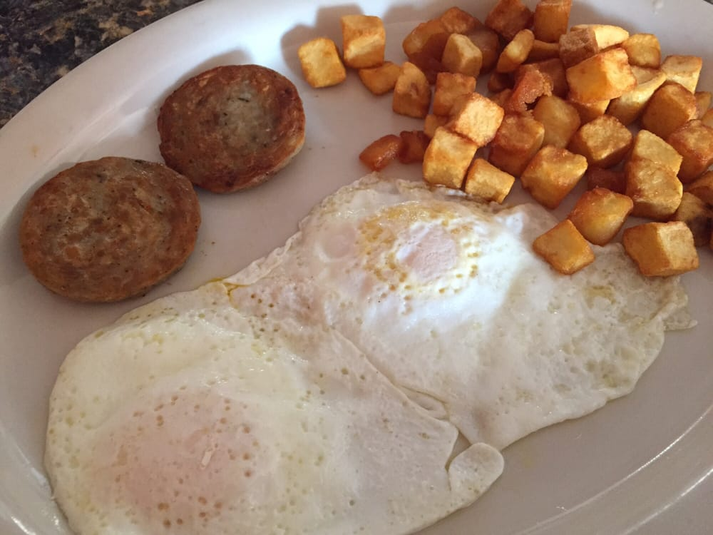 Eggs, sausage patties and potato cubes - Yelp