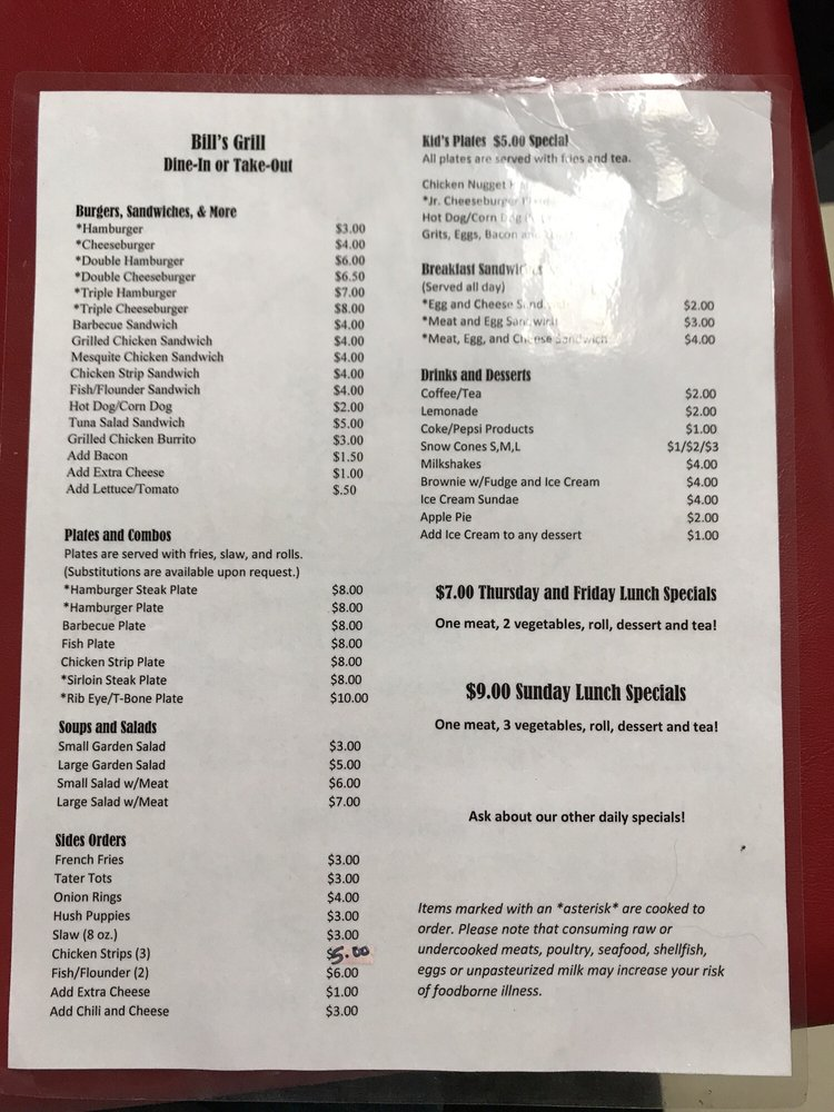 Bill's Grill: 359 S Main St, Patrick, SC
