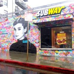 Subway sandwichs 425 s los angeles st downtown los for Audrey hepburn mural los angeles