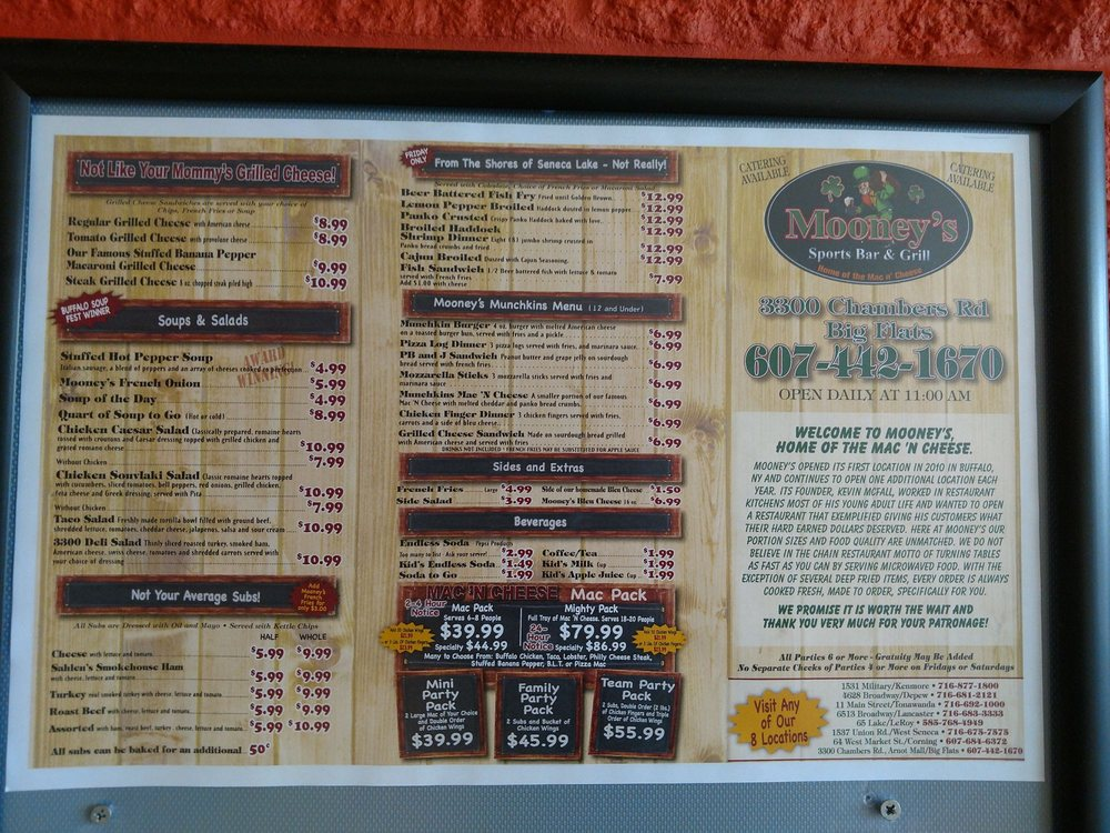 Online Menu Of Mooneys Sports Bar Grill Restaurant Horseheads
