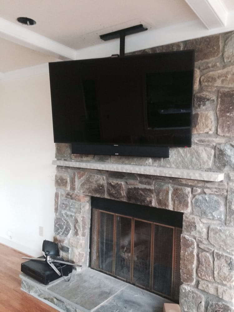 ceiling mounted tv over stone fireplace yelp. Black Bedroom Furniture Sets. Home Design Ideas