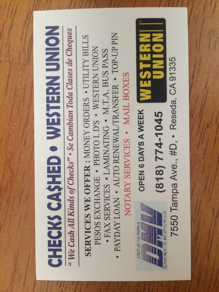 Checks Cashed - Western Union