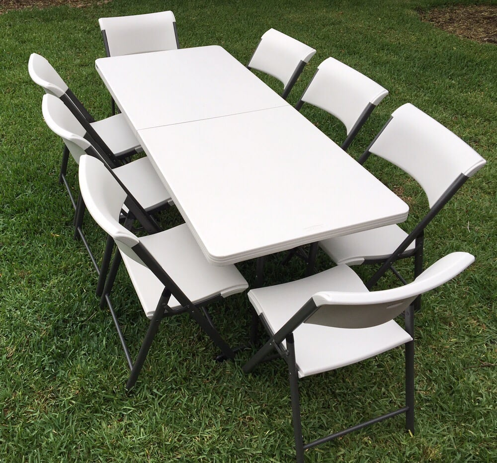 6ft Table With 8 Chairs: 6 Ft Rectangular Table Rentals: Table Set With 8 Chairs