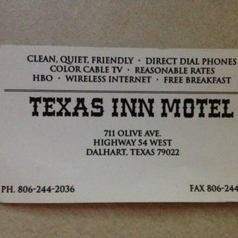 Photo Of Texas Inn Motel Dalhart Tx United States Their Business Card