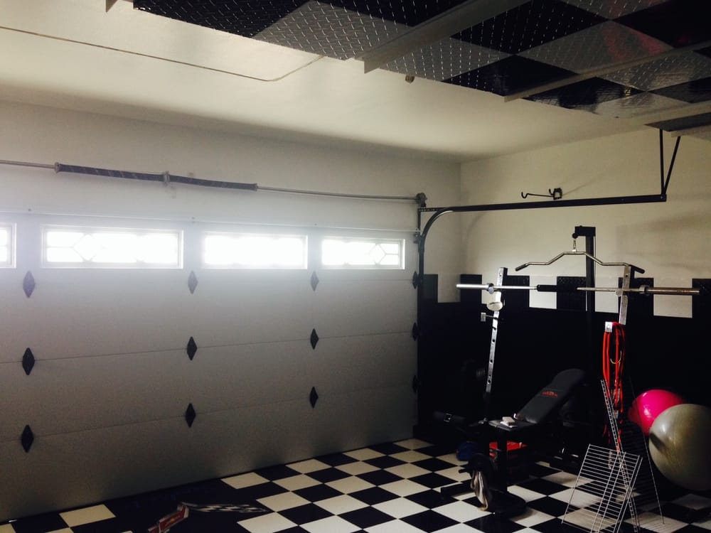Garage door inside with black powder coated track hardware to