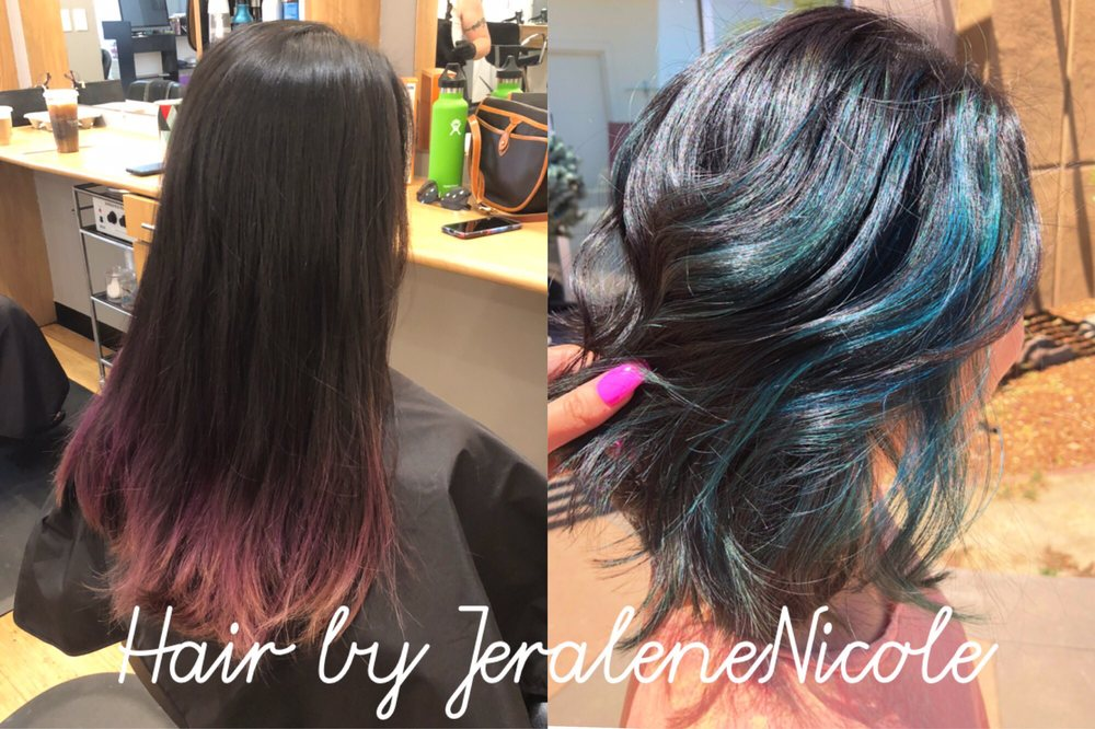 Blue Peekaboo Highlights On A Layered Short Bob Yelp