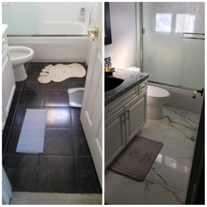 Surplus Bathroom Fixtures: Upstairs Bath 1 Before & After