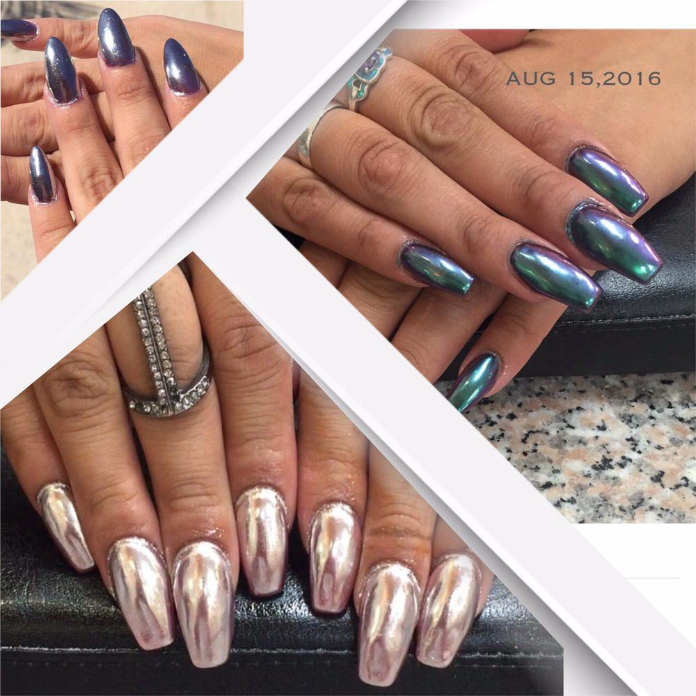 Full set and chrome nails with gel color. - Yelp