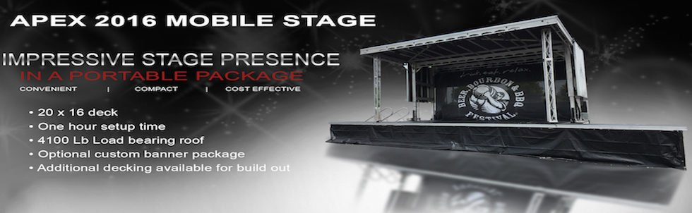 Apex 2016 mobile stage rental from Klassic Sound & Stage service