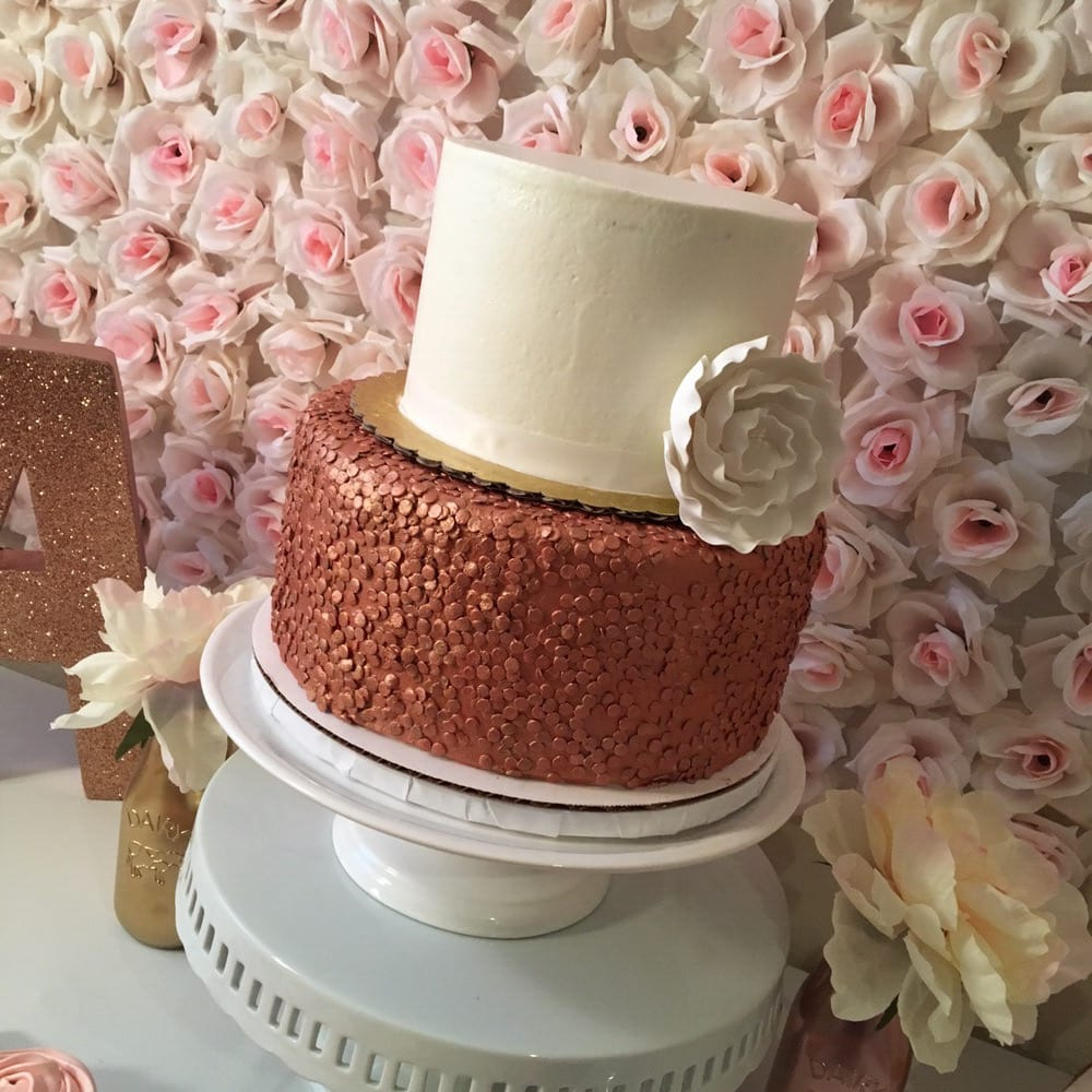 Two tier cake - bottom tier is a rose gold edible sequin cake  Top