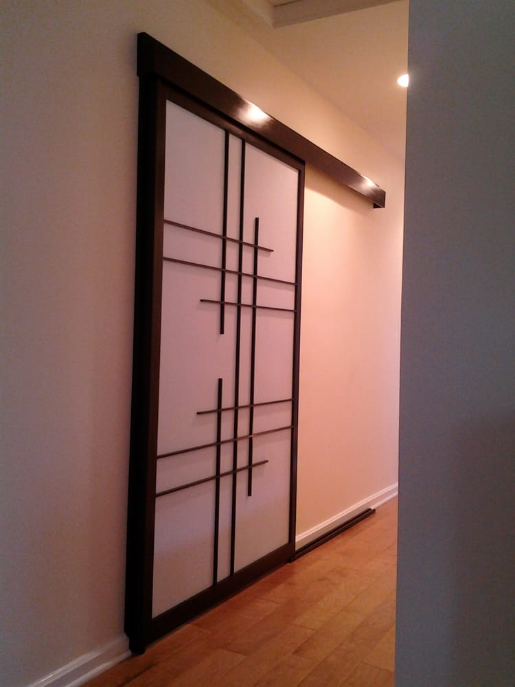 Sliding room divider shoji screen shown closed yelp for Sliding panel room divider