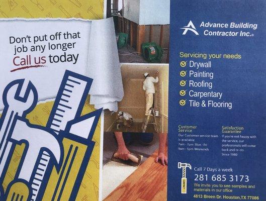 Advance Building Contractors Tiling 4813 Breen Houston Tx