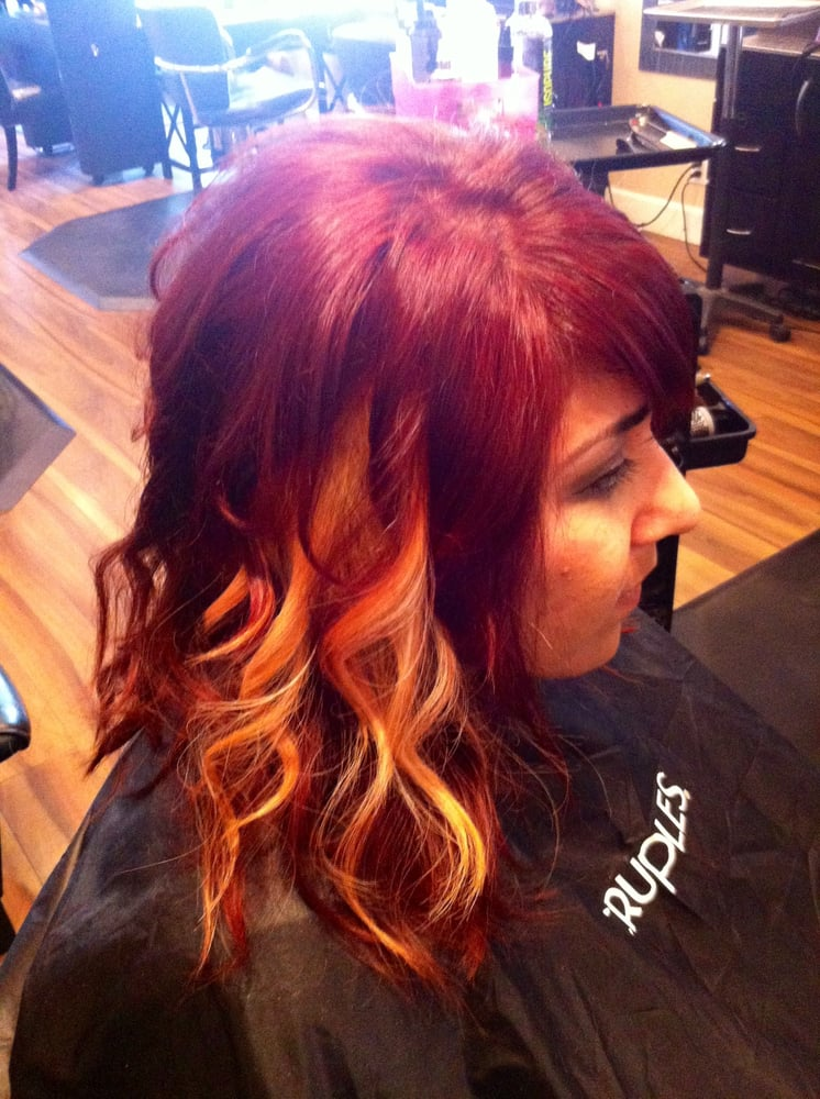 Gorgeous Blonde Peekaboo Panels With A Bright Fiery Red