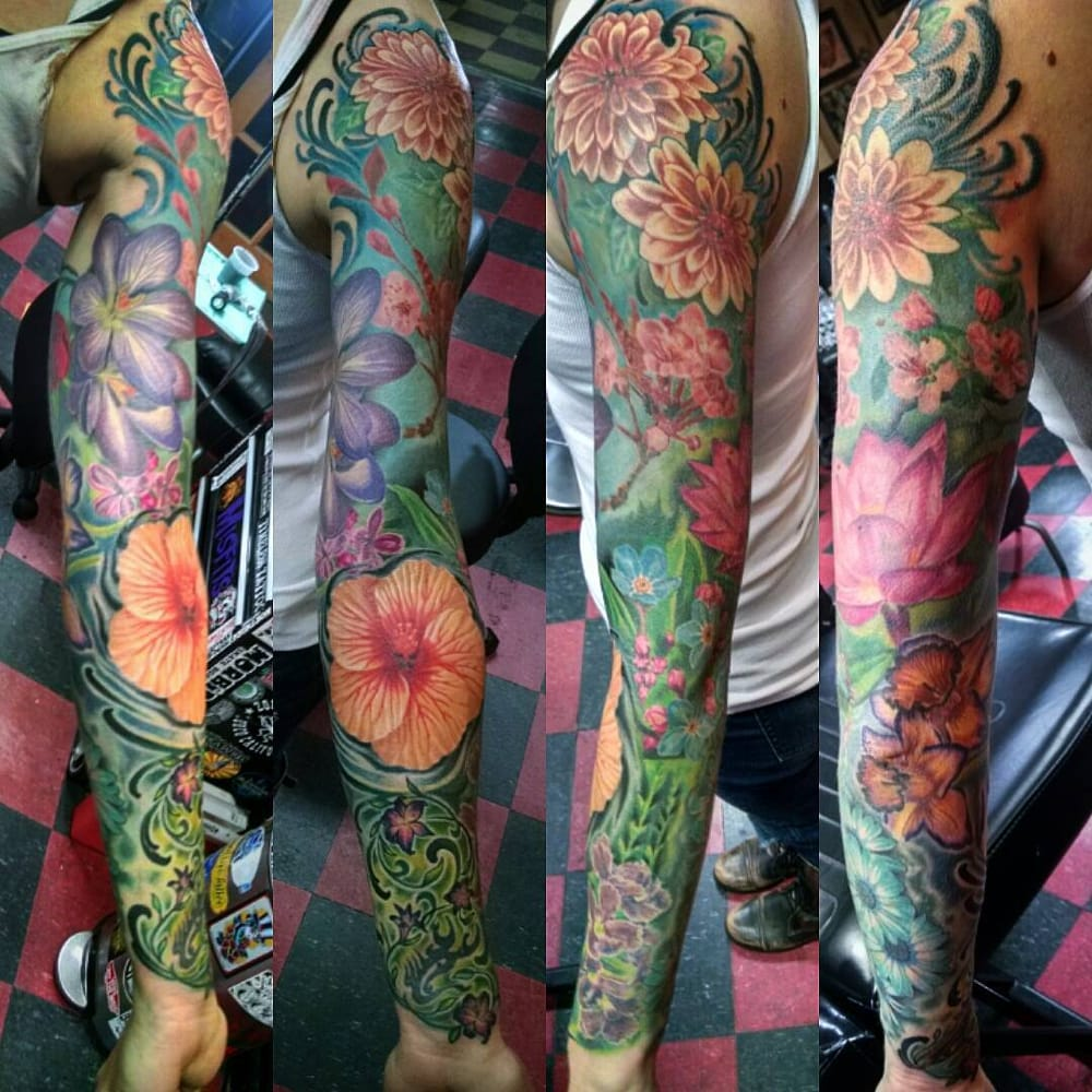 Flower sleeve by lucky monkey tattoo 39 s brad nugent yelp for Lucky drive tattoo parlour
