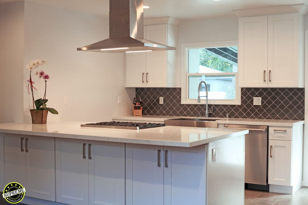 complete kitchen remodel with white shaker cabinets peninsula with rh yelp com