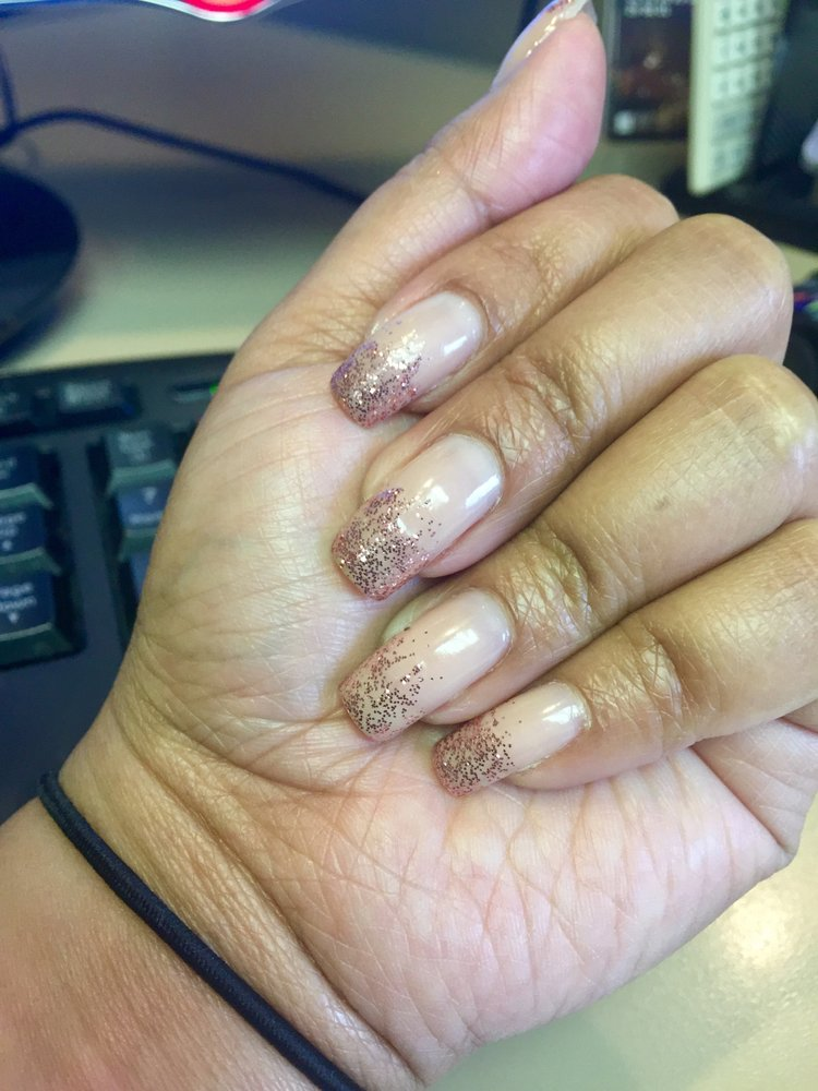 Rose Gold Ombre on OPI nude nail polish. Natural nails. - Yelp