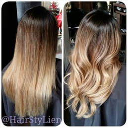 Balayage done by lien straight or curled the free for Salon vizions