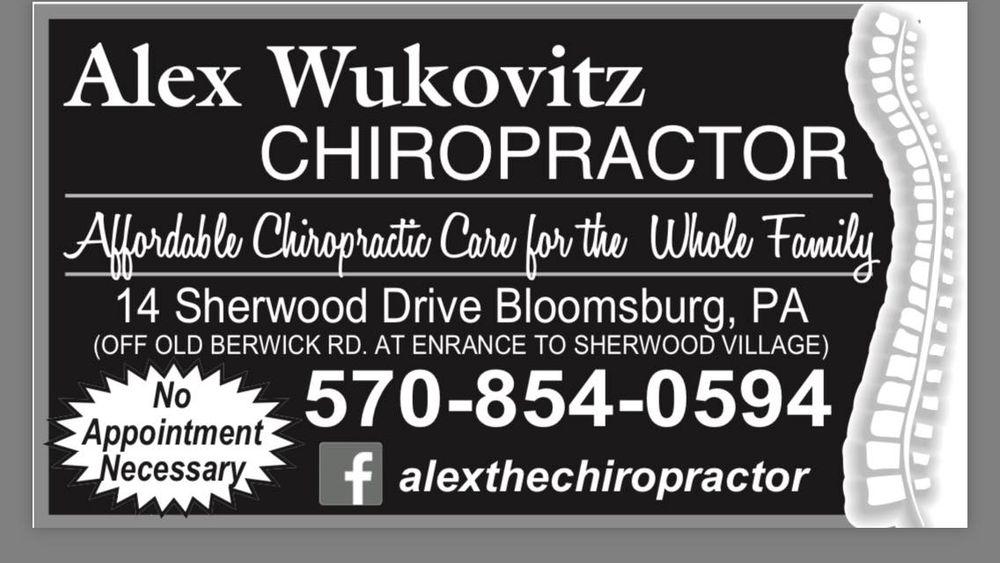 Alex Wukovitz, Chiropractor: 16 Sherwood Dr, Bloomsburg, PA