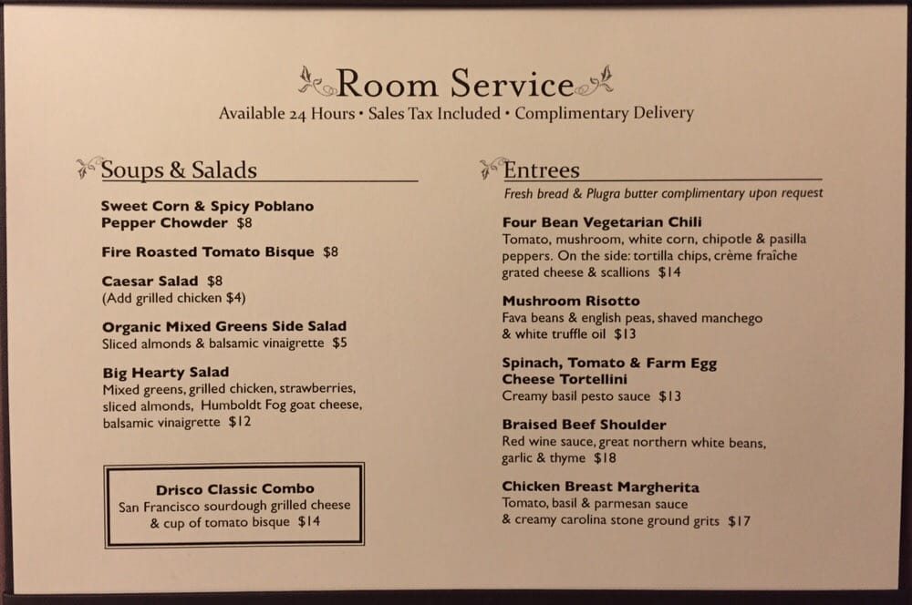 Room service menu yelp for W hotel in room dining menu singapore