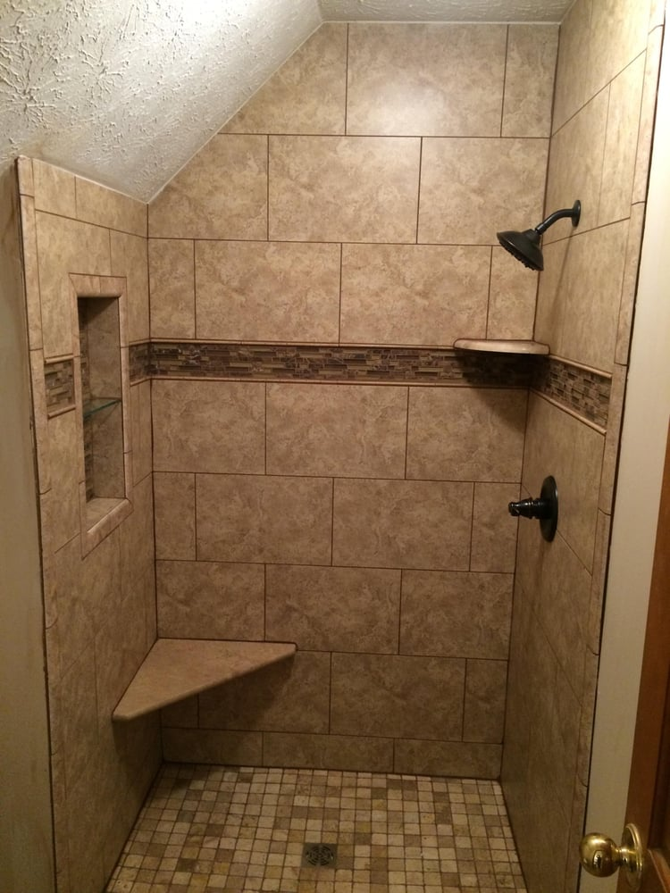 We Removed A Fiberglass Shower Installed This Ceramic Tile Shower With Bench Seat Corner