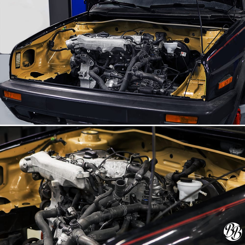 progress shot of our 1 8t motor swap on this 1990 jetta gli yelp. Black Bedroom Furniture Sets. Home Design Ideas