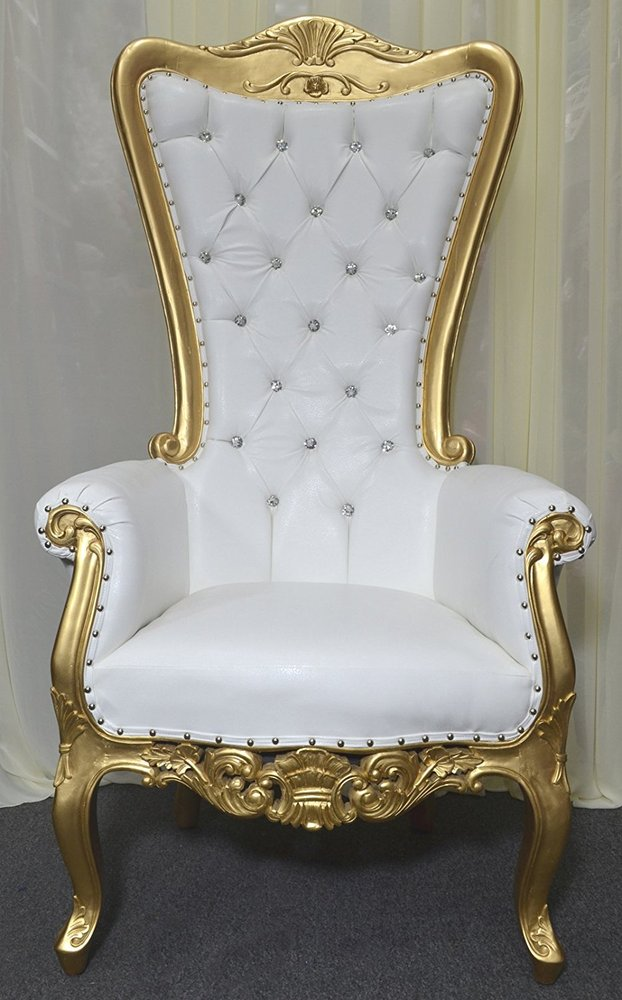 Gold Baroque Hand Carved Throne Chair With White Vinyl