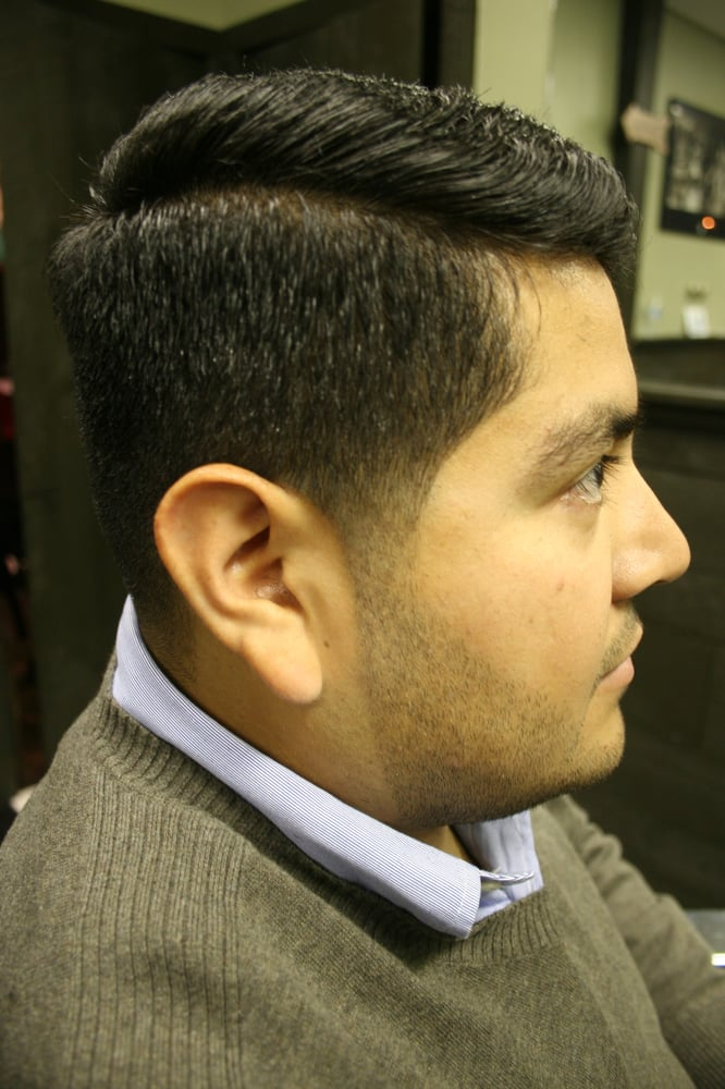 Comb Over Style With Fadetapered Sides And Natural Beard Line Up